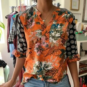 Feathers by Tolani Floral Reconstructed Blouse